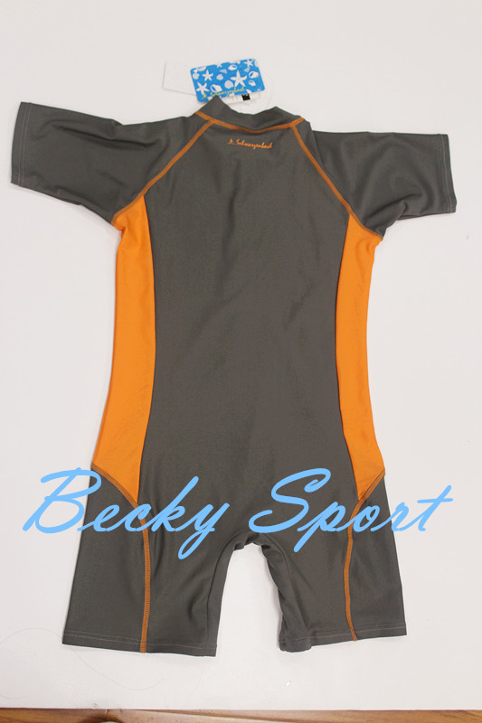 One-Piece Rashguard Rash Guard for Children with Zipper at Center Front and Contrast Color