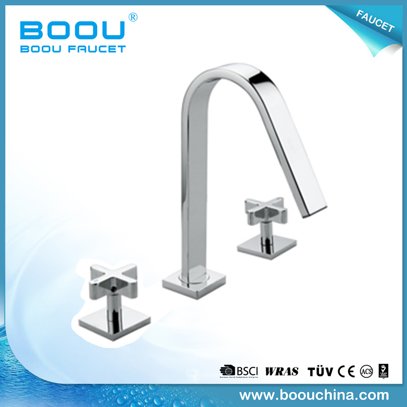 (BQ-5325-2A) Boou Deck Mounted Dual Handle Square Style Basin Mixer