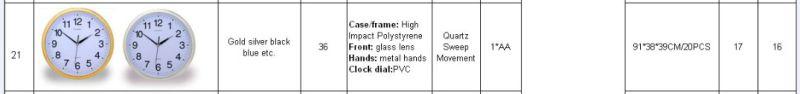 Silver Frame Logo Printing Round Plastic Wall Clock (Item21)