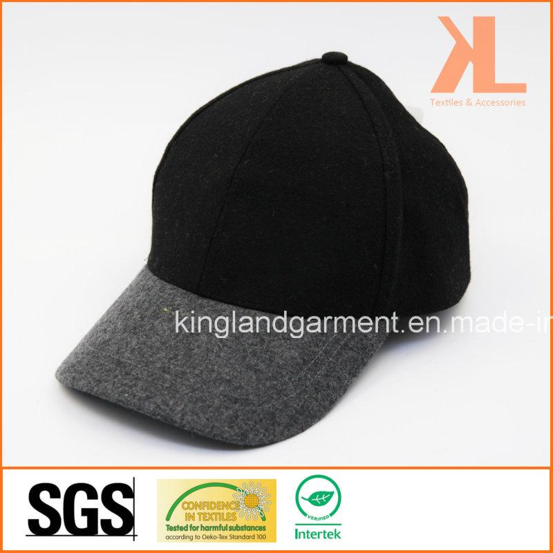 Polyester & Wool Quality Warm Plain Gray & Black Baseball Cap