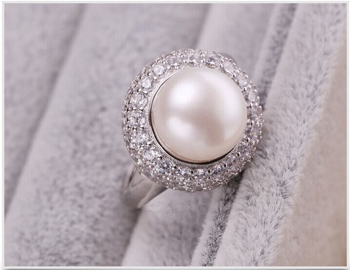 European Ring Wedding Ring Pearl Ring 925 Sterling Silver 10-11mm AAA Bread Round Fashion Pearl Ring