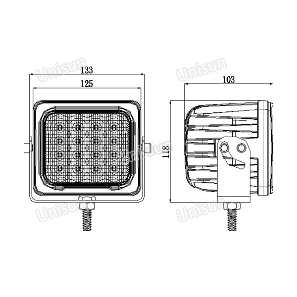 24V 48W LED Work Lamp for Heavy Duty Machine