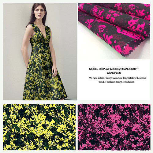 Flower Printed Polyester Chiffon/ Satin/ Jacquard/ Poplin/ Twill Fabric