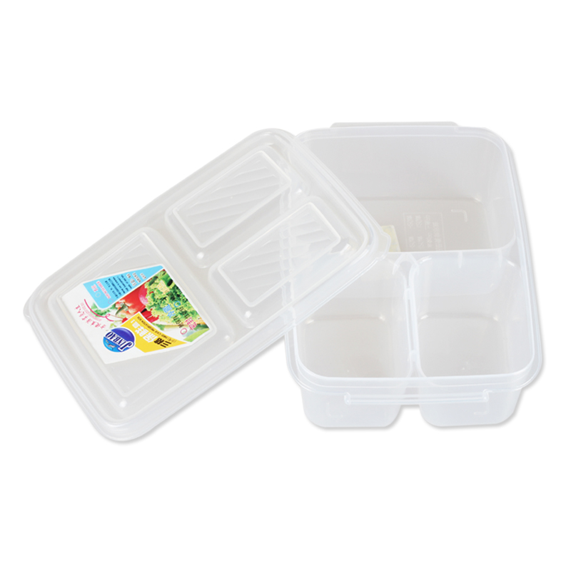 2016 New Design Transparent 3 Component Grid Lunch Box Container Set