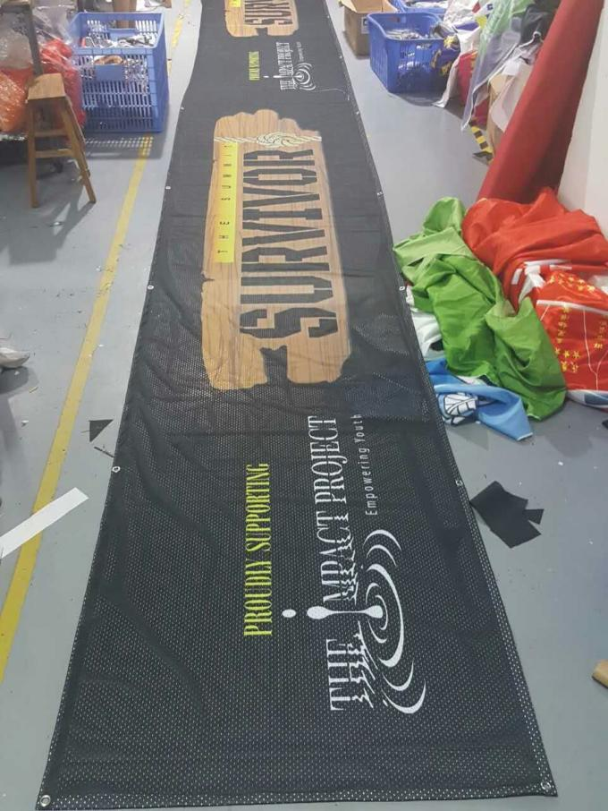 Fabric Outdoor Mesh Banner Sign Wrap Untuk Pagar Wraps 1 X 600 Meter