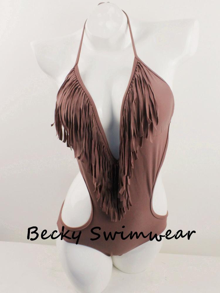 Lady's One Piece Swimsuit Swimwear Bikini with V Shape and Fringe