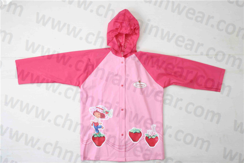 Cute Fashion Design Girl's PVC Rain Jacket