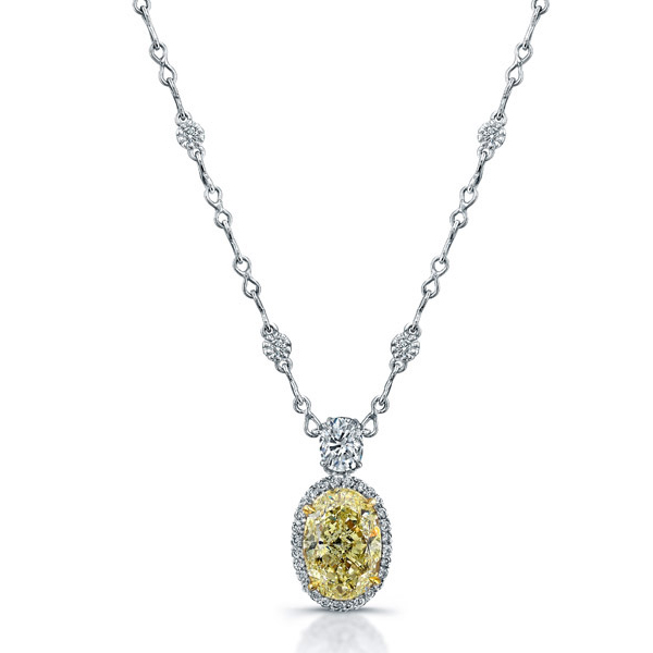 Yellow Oval Cubic Zirconia Halo Pendants 925 Sterling Silver Jewelry