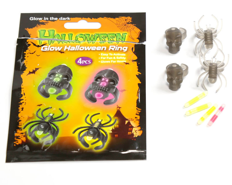 New Item Glow Ring Set with Skull and Spider for Halloween