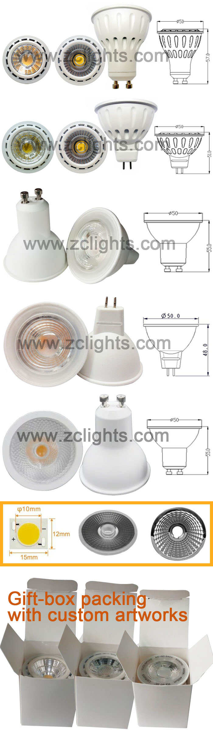Gu5.3 LED 12V MR16 LED Lamp COB LED Spotlight (MR16-A6)