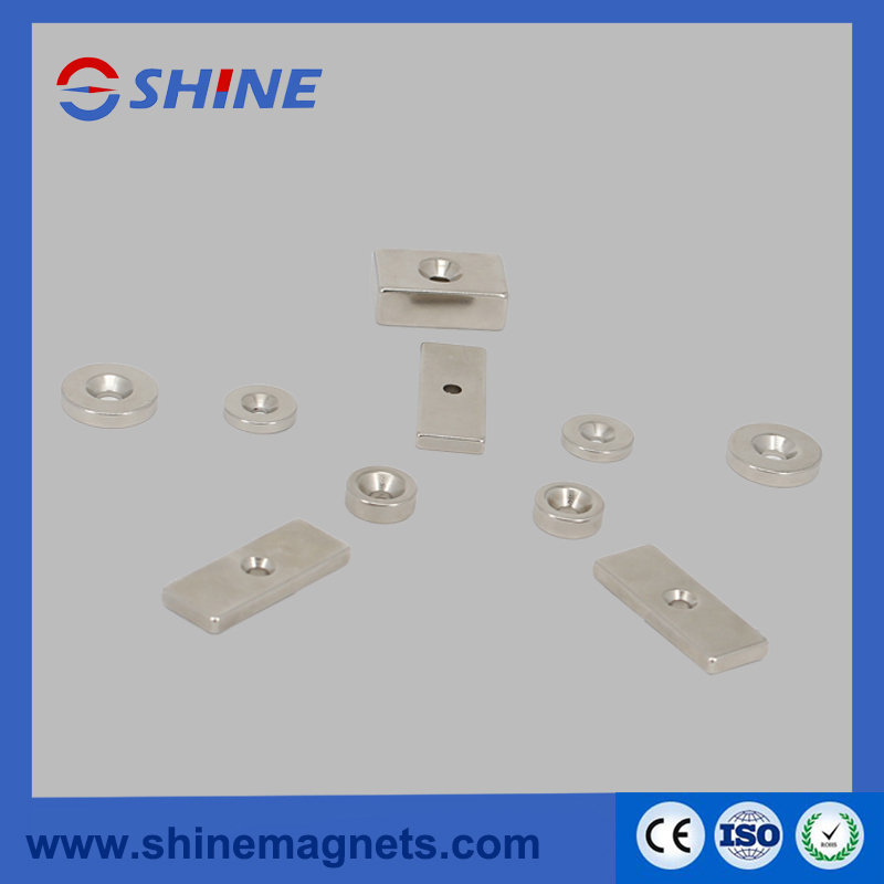 Different Shapes (Block, Ring) N35 NdFeB Countersunk Magnet with Nickle Plated