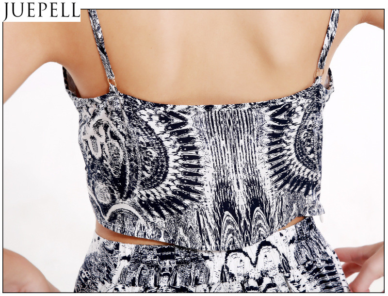 Europe Retro Summer Fashion Printed Suit Women Sexy V-Neck Camisole Piece Split Culottes Dress
