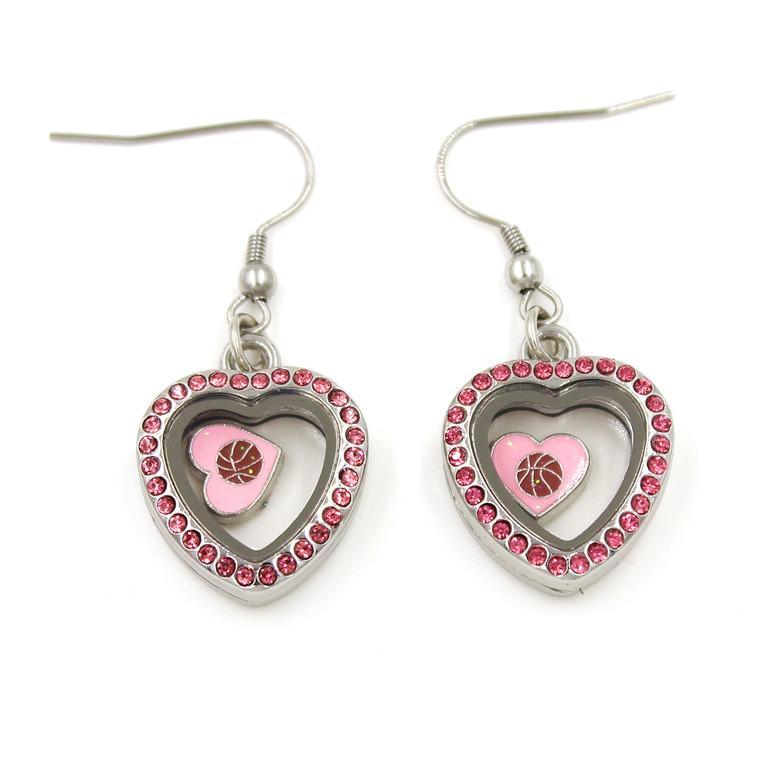 Zinc Alloy Metal Round Locket Drop Jewelry Earrings