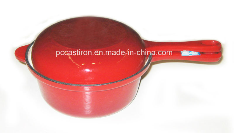 Enamel Cast Iron Saucepan with Double Use Lid as Frypan
