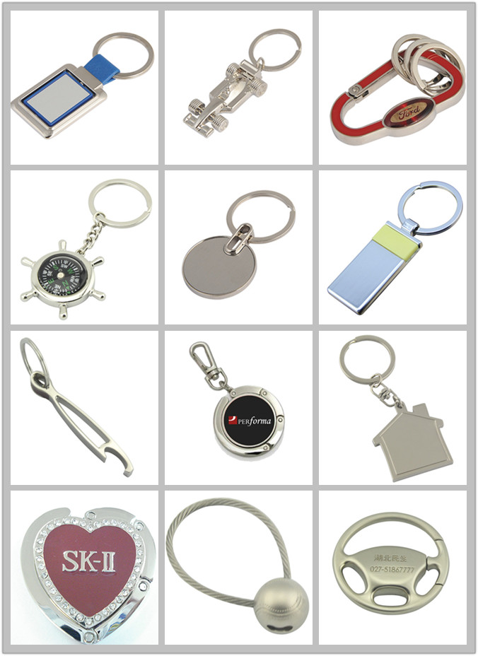 Print Branding Logo Metal Ribbon Popular Car Promotion Keychain (F1066)