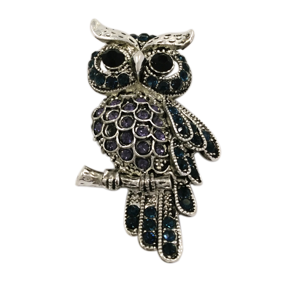 High Quality Crystal Metal Owl Brooch Pin