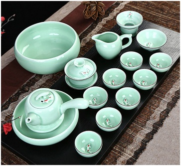 Hand-Painted China Celadon, Tea Set Ceramic