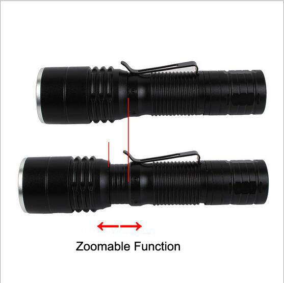 C81 Portable Mini LED Zoom Flashlight Torch with Pen Clip