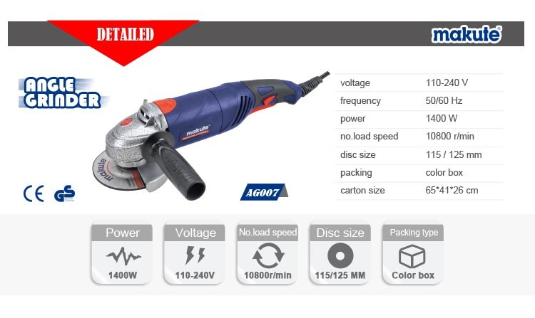 1400W 125mm Industrial Angle Grinder, Patented Design (AG007)