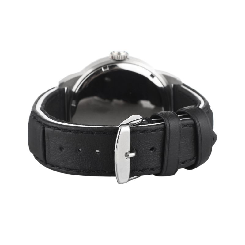 Badatong Black Genuine Leather Quartz Watches Men