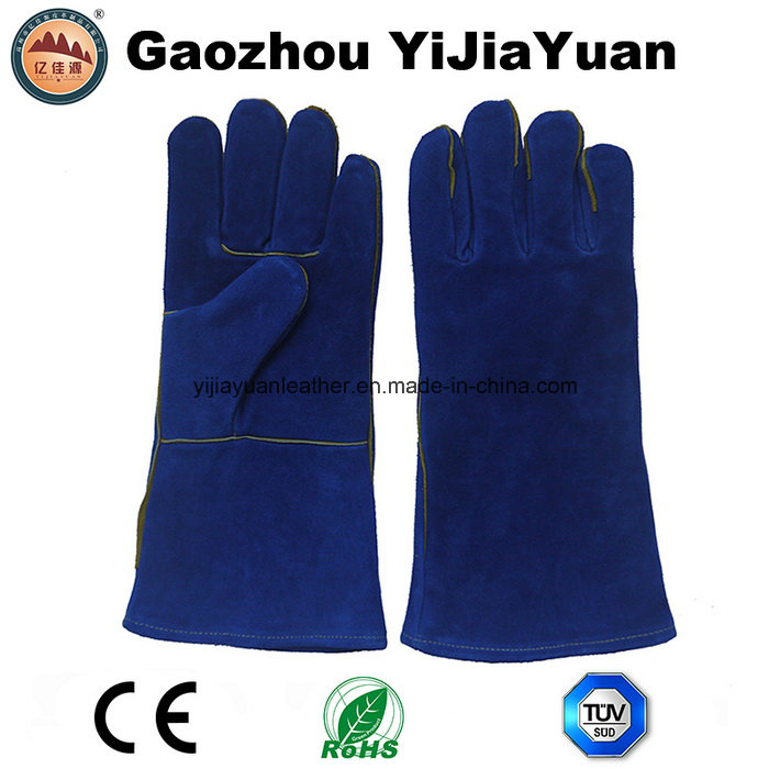 Blue Cowhide Split Leather Industrial Hand Safety Welding Work Gloves