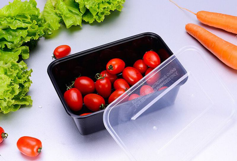 Black Color PP Plastic Disposable Food Storage Containers