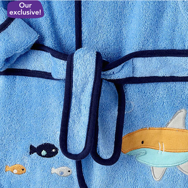Shark Pttn Baby Boys Booties and Bath Robe (DPFT80131)