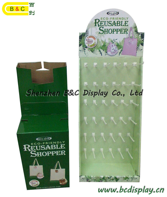 Shopping Paper Hooks Display, Cardboard Hooks Display Stand, Gift Box, Paper Dump Bin (B&C-B001)