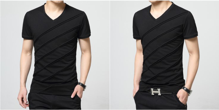 Custom Wholesale Plain V Neck Fashion Cotton Men T Shirt