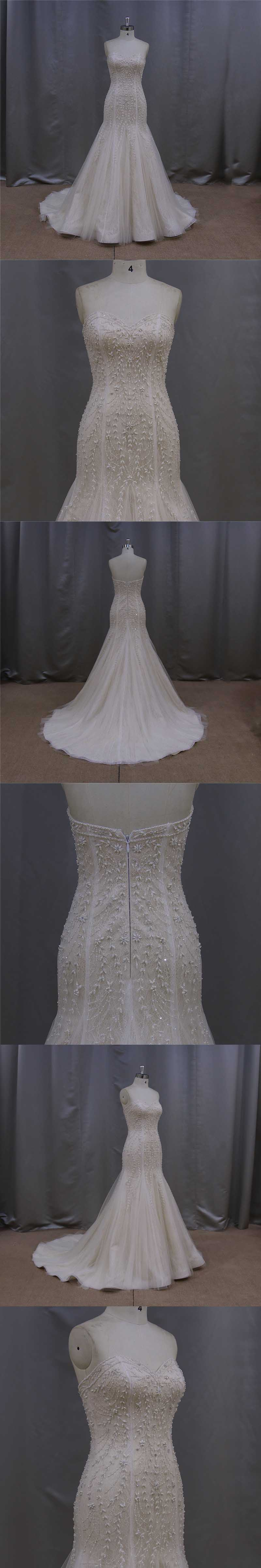 Romantic Beading A Line Wedding Dresses