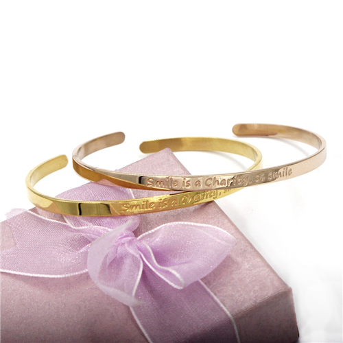 Christmas Gift 4mm Rose Gold Customerized Bangle Stainless Steel Jewelry Bracelet