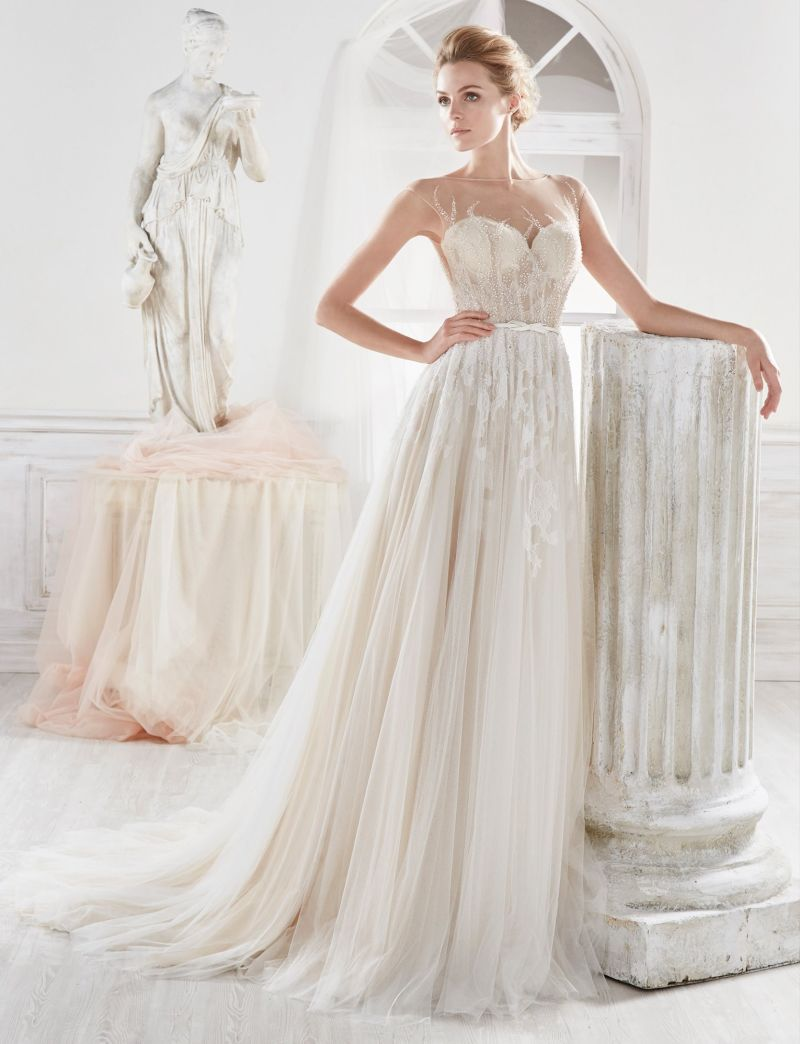 Backless Beading Tulle Bridal Dress Bridal Gown