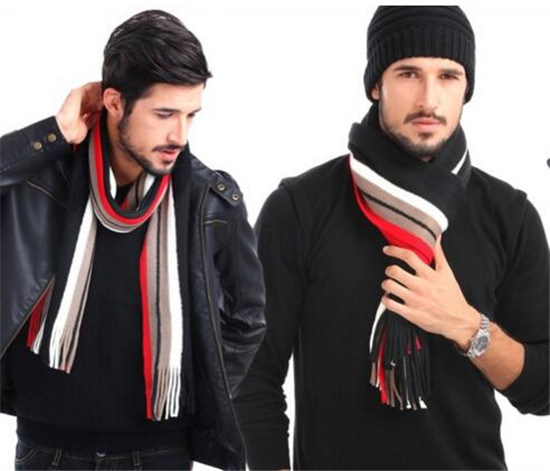 Men Winter Classical Striped Men's Wool Scarf (82020)