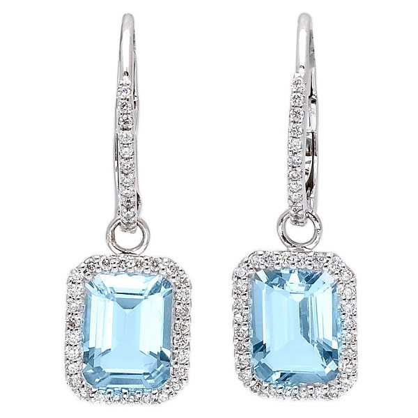 14k White Gold Over Silver Jewelry Aquamarine Emerald Cut Diamond Earrings