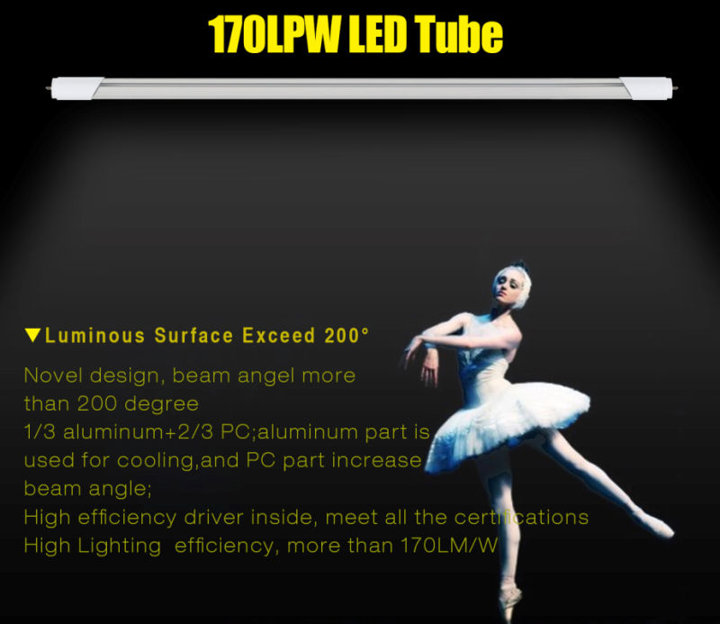 170lpw LED Tube 600mm 1200mm 1500mm, SMD T8 4 Feet LED Tubes with UL Dlc Ce RoHS
