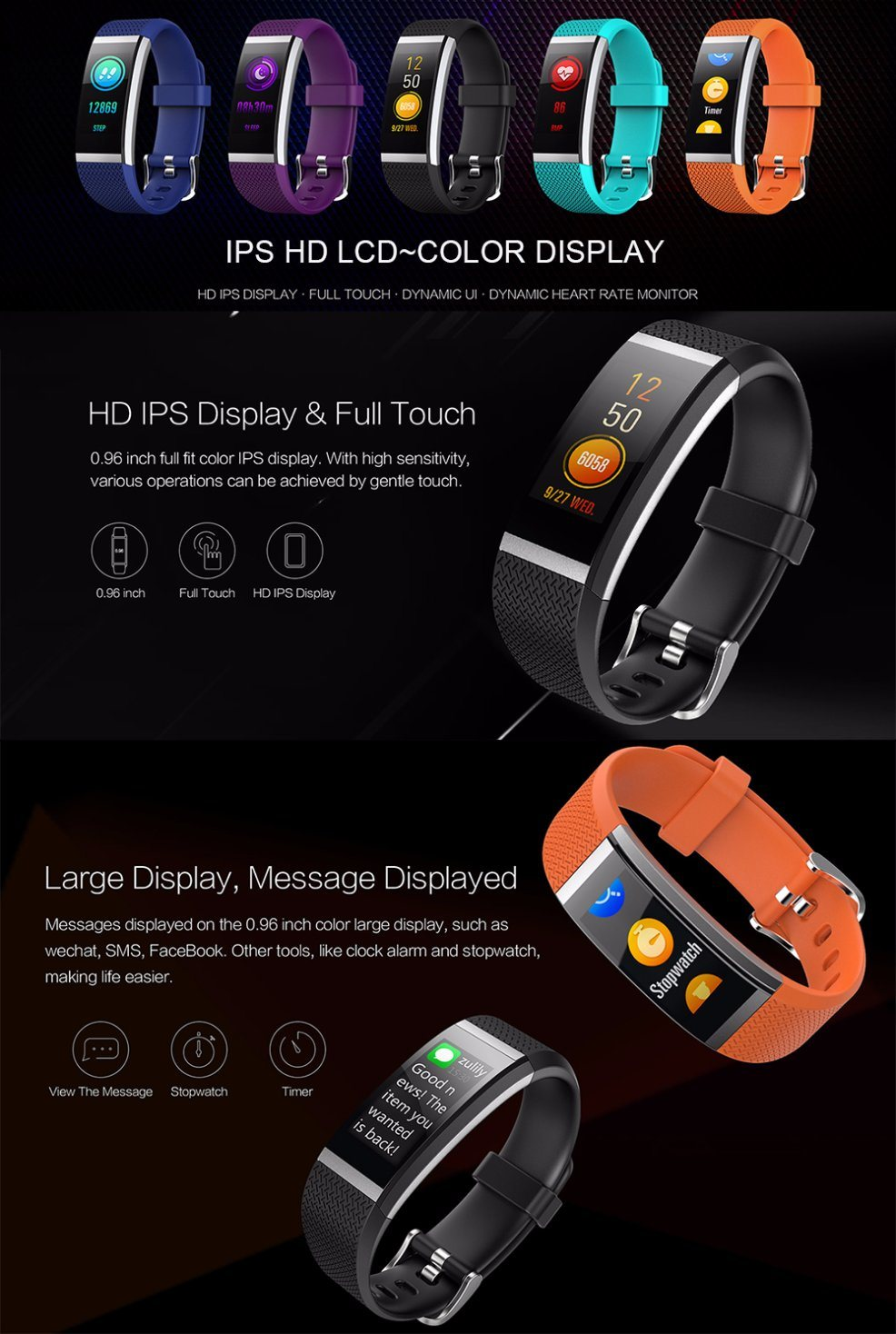 Distributor Color Display Screen Sport Fitness Digital Smart Watch with Heart Rate/Sleep Monitoring/Pedometer/Sedentary Reminder/Blood Pressure