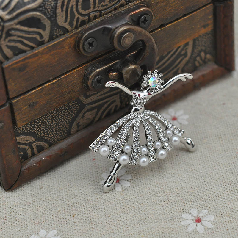 Fashion Small Ballet Dancer Silver Plated CZ Rhinestone Pearl Brooch