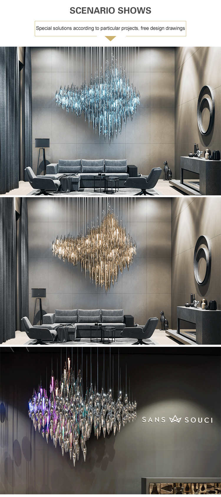 Professional customized unique style luxury living room crystal chandelier light