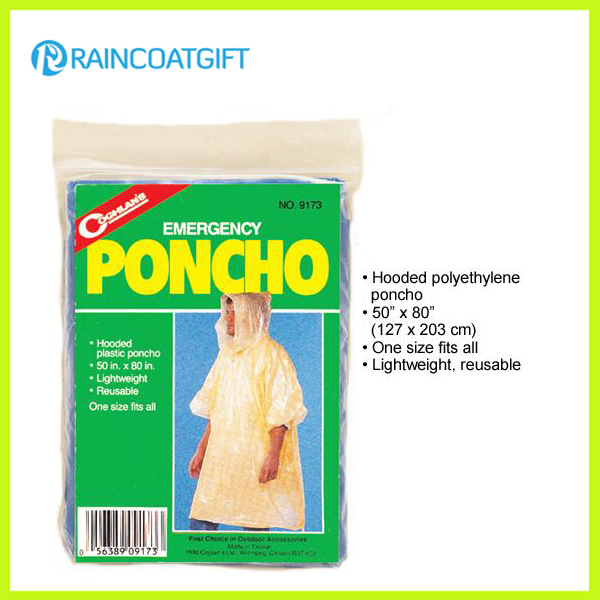 Emergency Pocket PE Rain Ponchos Rpe-029