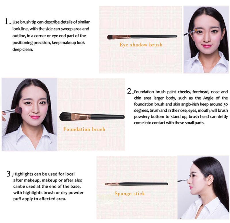 15PCS Makeup Cosmetic Brush Set with Eyeshadow Eyebrow Pencil Brushes