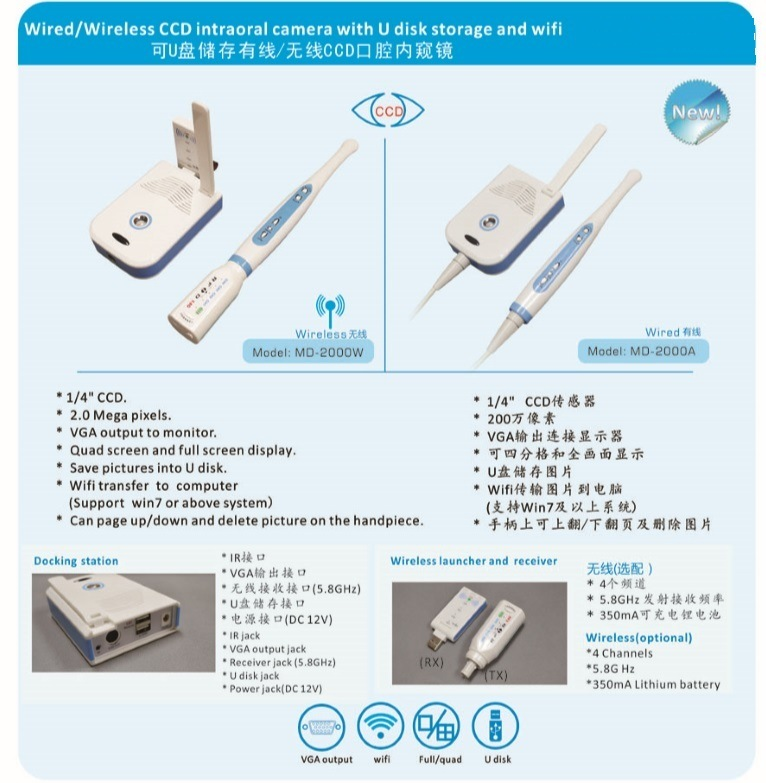Hot Sale MD2000A Wired CCD Intraoral Camera with U Disk Storage and WiFi