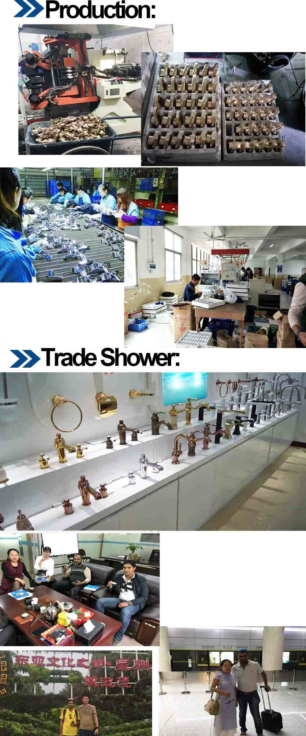 Bathroom Gold Shower Mixer Chrome Brass 3 Functions Shower
