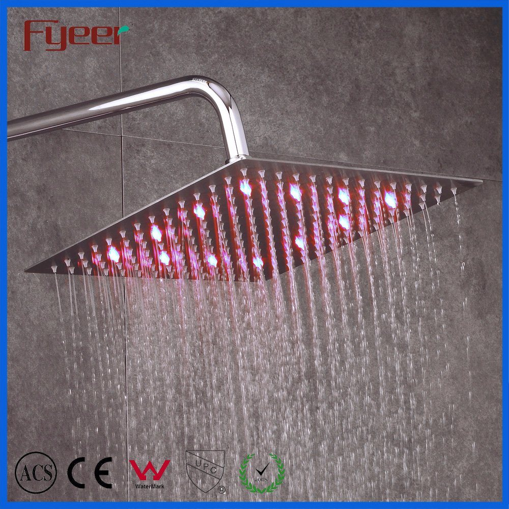 Hot Selling Ultra Thin Square Overhead Rainfall Showers China Stainless Steel Hydro Power LED Ceiling Shower Head with Light