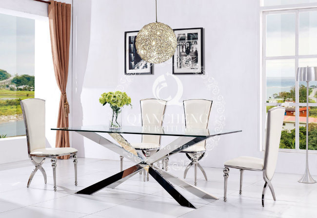 Glass Wedding Dining Table with Stainless Steel Frame Furniture