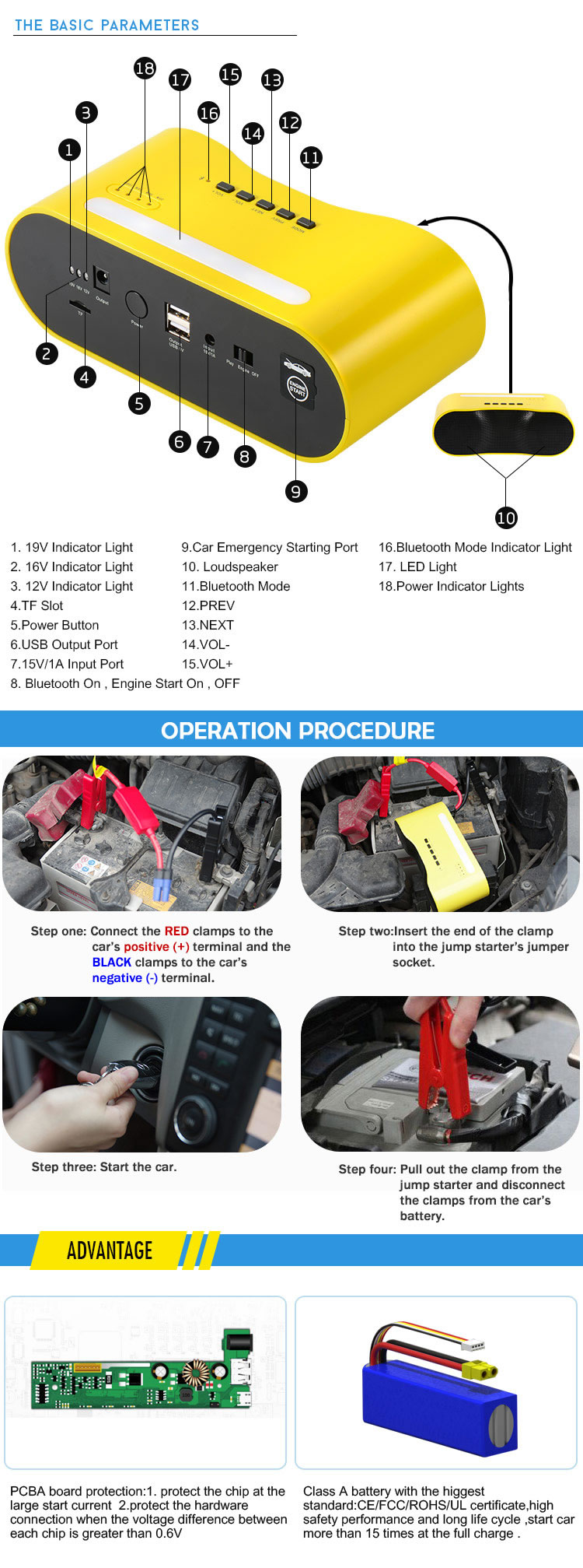 12000mAh Car Battery Charger with Speaker
