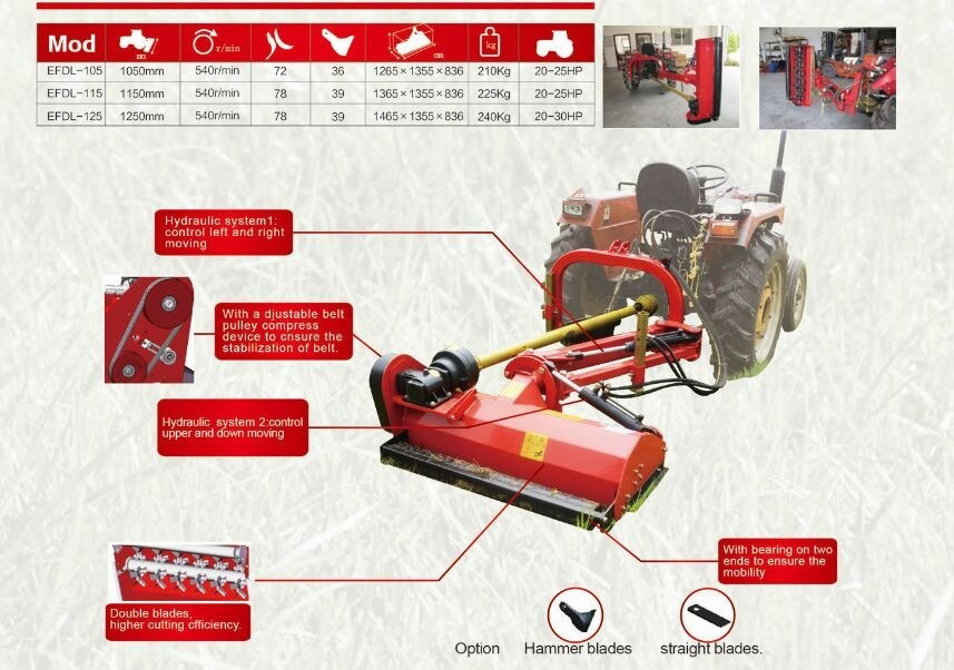 Ce Standard Approved Light Side Flail Mower