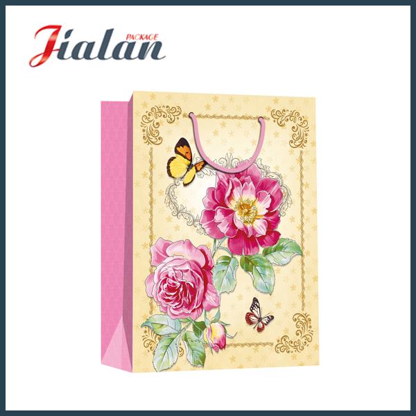 Cheap Twist Rope OEM Sunflowers Holiday Design Paper Packaging Bag