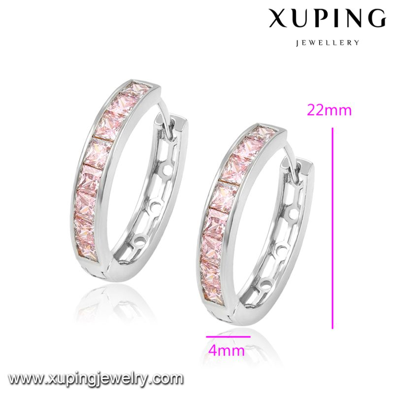 92306 Fashion Jewelry Newest Charm CZ Earring Huggie in Rhodium -Plated