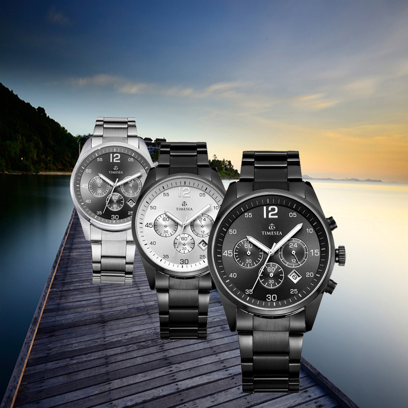 Chronograph Luxury Steel Man Watches Analog Quartz Wrist Watch 72182