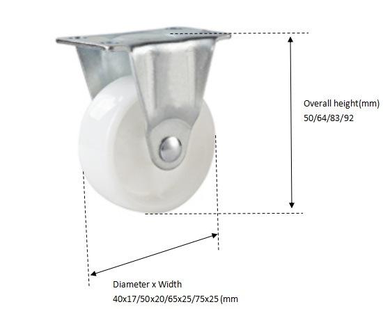 Rigid 2 Inch White PP Small Caster Wheel